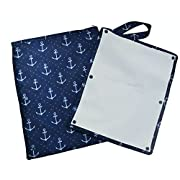 Sarah Wells  Pumparoo  for Breast Pump Parts, Wet Dry Bag with Staging Mat (Navy Anchors)
