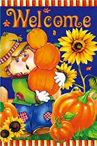 Morigins Harvest Fall Scarecrow Double Sided Welcome House Flag 28x40 Inch