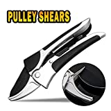 APRIL 14TH Professional Pruning Shears By Ratchet Mechanism, Sharp Tree Trimmers Secateurs Hand Pruner Clippers with Safety Lock - Great for Weak Hands (SilverBlack)