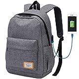 Modoker Travel Laptop Backpack School Bag with USB Charging Port, Slim Travel Bookbag for Women Men College School Backpack Student Daypack Fits 14 inch Laptop, Grey