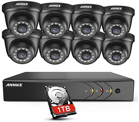 ANNKE Security DVR System 8 Channel 1080P Lite H.264 DVR with 1TB HDD and 8 HD 1080P Weatherproof CCTV Dome Cameras, Smart Playback, Instant email Alert with Image