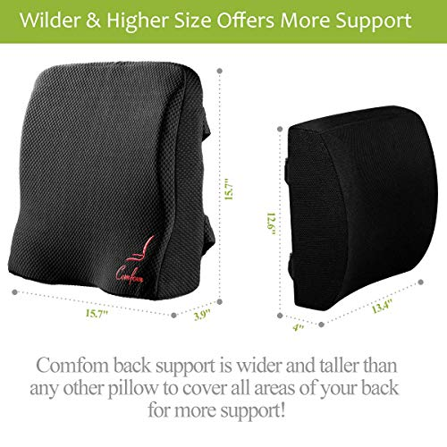 TechButik Lumbar Support for Office Chair Back Car Seat Pillow – Lower Back Pain Relief Ergonomic Orthopedic Memory Foam Cushion with Straps Washable Cover Black