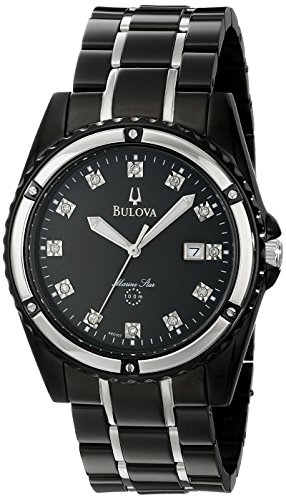 Bulova Diamond Black Dial - Bulova Men's 98D107 Marine Star Bracelet Mother of Pearl Dial Watch