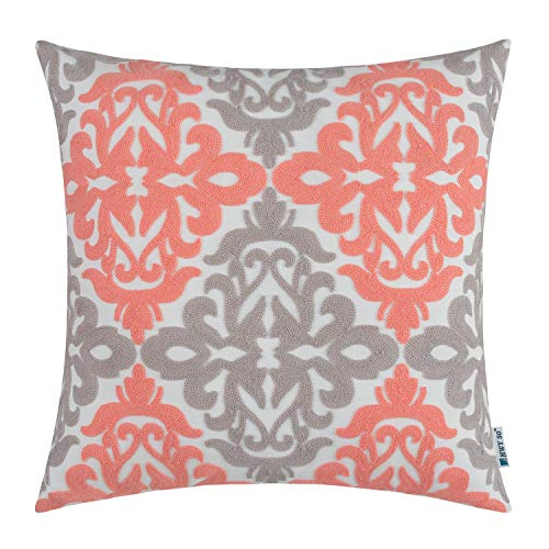 HWY 50 Coral Pink Grey Decorative Embroidered Throw Pillow Covers Cushion Cases for Couch Sofa Living Room 18x18 inch Accent Rustic Geometric 1 Piece