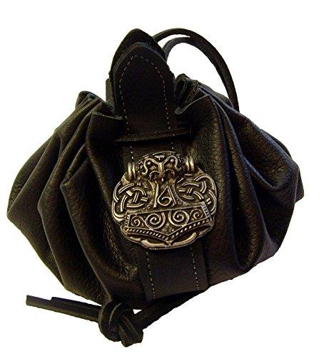 Lederbeutel Dukatenbeutel Geldkatze Farbe schwarz Nordgemanischer Thors Hammer
