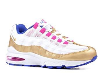 new york 586cb 17d87 Nike Air Max  95 LE GS White Racer Blue Fuchsia Blast Metallic