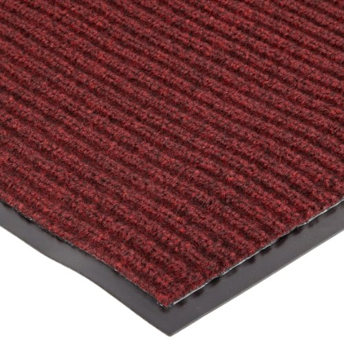 "NoTrax 109 Brush Step Entrance Mat, for Lobbies and Indoor Entranceways, 2' Width x 3' Length x 3/8"" Thickness, Red/Black"
