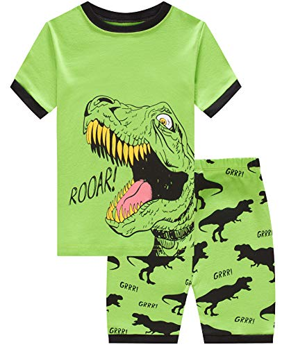 Little Boys Short Pajamas Dinosaur Snug Fit Cotton Toddler Pjs Summer Clothes Shirts Size 14 for $<!--$10.99-->