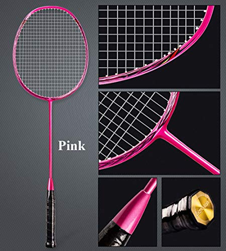 Senston N80 Graphite Single High-Grade Badminton Racquet, Professional Carbon Fiber Badminton Racket, Carrying Bag Included Pink Color by Senston (Image #2)