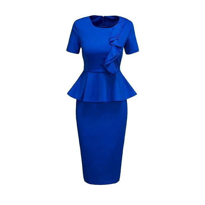 eaa67f940ed Honwenle Women s Classy Peplum Short Sleeve Zip Up Wear to Work Business  Party Bodycon Pencil Dress