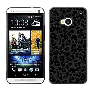 TopCaseStore / la caja del caucho duro de la cubierta de protección de la piel - Animal Fur Black Dark - HTC One M7