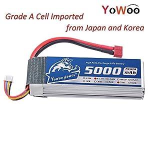 YoWoo 3S 5000mAh 11.1V 50C RC Lipo Battery For Traxxas Slash e-maxx ARRMA Associated Axial Kyosho HPI Car Pro Boat(6.1x1.89x0.98inch,0.87lb)