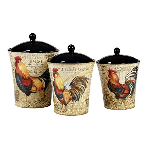 Rooster Kitchen Canister - Certified International 23656 Gilded Rooster Canister Set (3 Piece), One Size, Multicolor