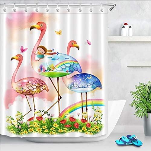 Chenghaos shop Niños Montando Flamingo Rainbow Cortina De Ducha Mariposa Floral Mamparas De Baño Tejido De Poliéster Impermeable para Decoración De Bañera 240 (W) X200 (H) Cm: Amazon.es: Hogar