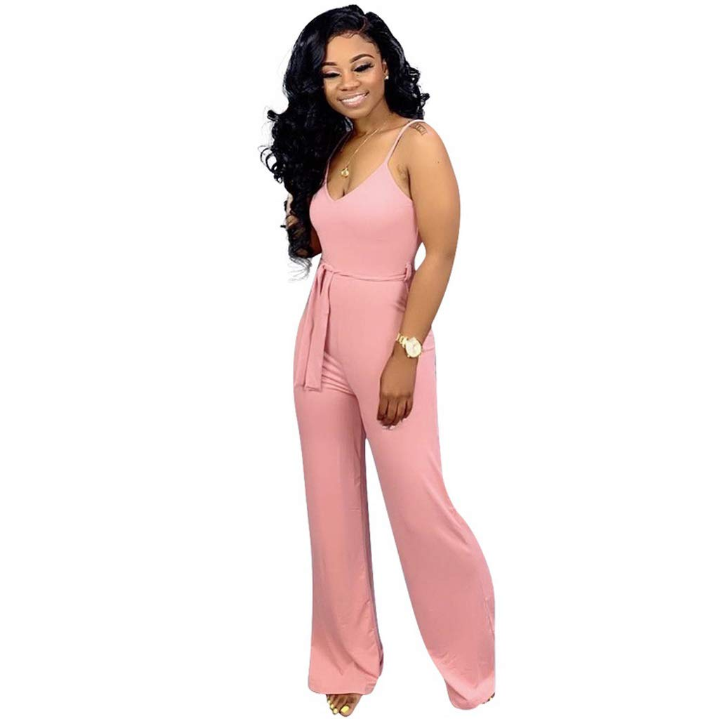 Balialisa Women Spaghetti Strap Sleeveless with Sashes Wide Leg Long Jumpsuit Casual Active wear Romper Playsuit Outfit(Pink,S)