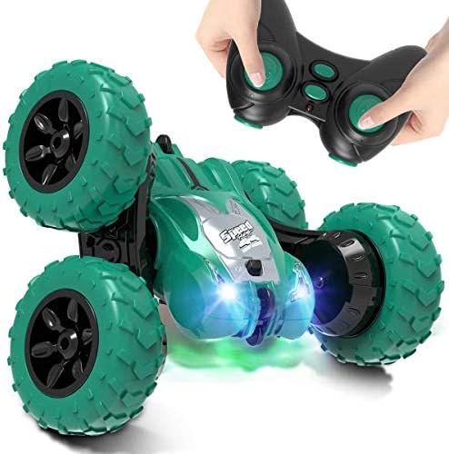 AFUNX Remote Control Car,RC Stunt Double Sided 360° Rolling Rotating Rotation Cars, High Speed Off Road Racing Truck for three 4 5 6 7 8-12 Year Old Boy Kids Toy (Green)