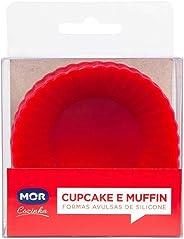 Cupcake e Muffin Formas Avulsas Silicone, Mor, Vermelho, 12 Unidades
