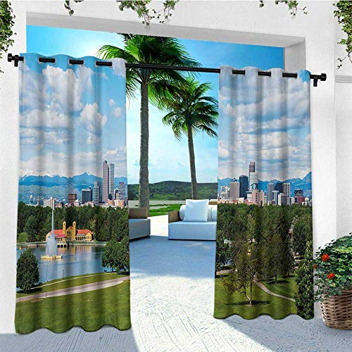leinuoyi Urban, Outdoor Curtain Pair, City Park at Denver Colorado Downtown Tree and Architecture Sunny Panorama, Outdoor Privacy Porch Curtains W84 x L108 Inch Sky Blue Fern Green (Best Privacy Trees Colorado)