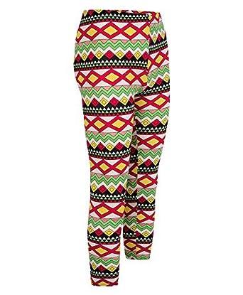 LOTMART Girls Aztec Print Cotton Leggings Kids Children Teen Stretchy Full Length