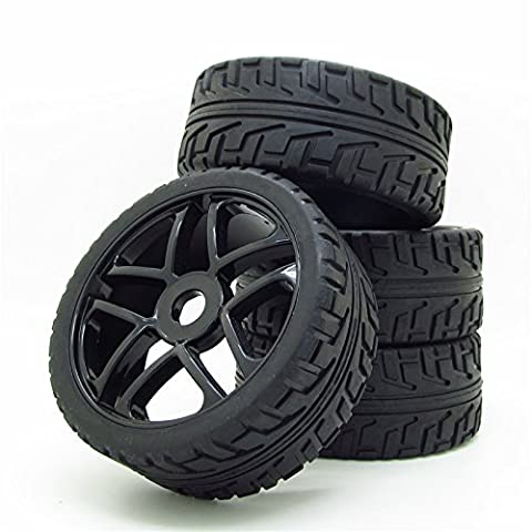 Wheel Rim&Rubber Tires RC 1:8 Off-Road Tyre 17mm Hexagonal Joint Pack Of 4 Black - 1/8 Buggy