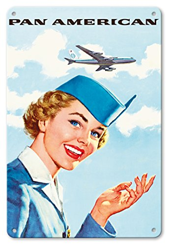 Pacifica Island Art 8in x 12in Vintage Tin Sign - Pan American World Airways - Airline Stewardess