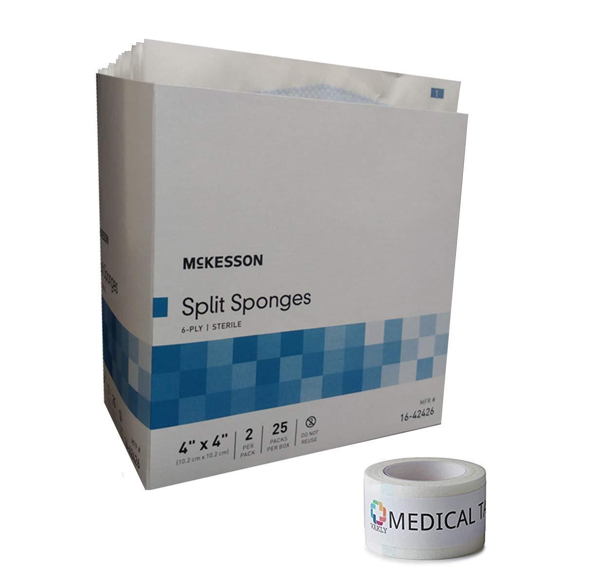 Sterile 4''X4'' 6 Ply Split Drain Sponge 25 Packs of 2 + 1 Roll of Vakly Medical Tape (1)