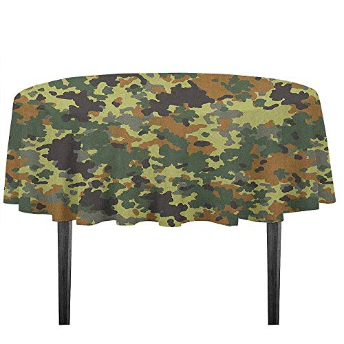 kangkaishi Camo Washable Tablecloth Classical Germany Camouflage Pattern Forest Jungle Military Colors Desktop Protection pad D59.05 Inch Dark Green Pale Green Brown