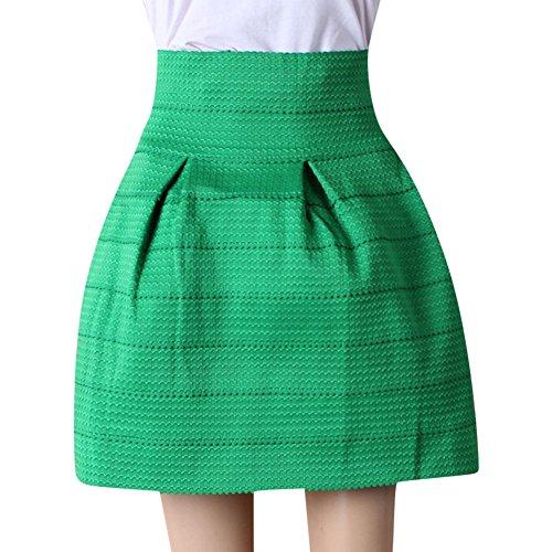 SaiDeng Faldas Cortas Elástico Plisado Alta Cintura Paquete Cadera Falda-Lápiz Césped Verde Césped Verde