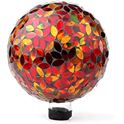 """Lily's Home Colorful Mosaic Glass Gazing Ball, Designed with a Stunning Holographic Petal Mosaic Pattern to Bring Color and Reflection to Any Home and Garden, Red and Gold (10"""" Diameter)"""
