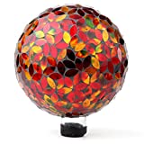 Lily's Home Colorful Mosaic Glass Gazing Ball, Designed with a Stunning Holographic Petal Mosaic Pattern to Bring Color and Reflection to Any Home and Garden, Red and Gold (10' Diameter)