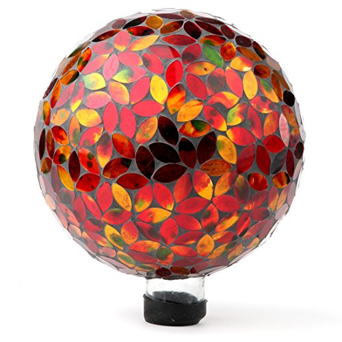 Lily's Home Colorful Mosaic Glass Gazing Ball, Designed with a Stunning Holographic Petal Mosaic Pattern to Bring Color and Reflection to Any Home and Garden, Red and Gold (10