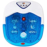 Giantex Foot Spa Bath Massager with Heat, Bubbles Vibration and 4 Massage Rollers, Anti-Splash Water Guarder, Temperature Control, Pedicure Foot Massage Tub for Home Salon Use (Blue)