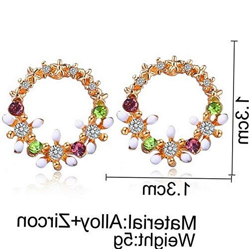 Dokis Elegant Round Triangle Geometry Zircon Flower Ear Stud Earrings Woman Jewelry   Model ERRNGS - 2778  
