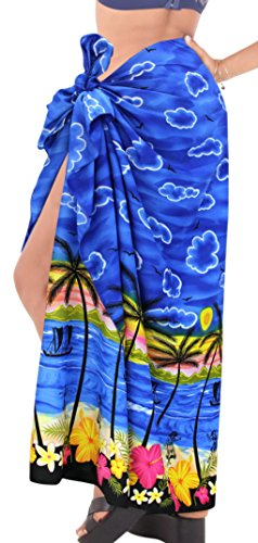 Coprire Pareo Sarong Beachwear Da Leela Involucro La Blu m636 Costume Esterno Del Donne Costumi Bagno Pannello SAWq8