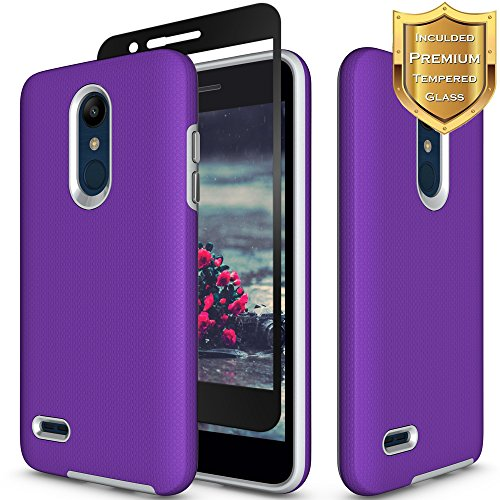 LG K30 Case, LG Phoenix Plus Case, LG Premier Pro LTE Case, LG K10 2018 Case with [Full Coverage Tempered Glass Screen Protector] Nuomaofly Anti-slip Hard Textured Protective Case (Purple)