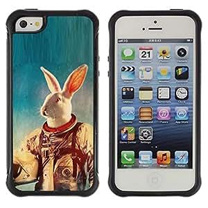 "Pulsar iFace Series Tpu silicona Carcasa Funda Case para Apple iPhone SE / iPhone 5 / iPhone 5S , Blanca Traje espacial Conejo Experimento Animal Viajes"""