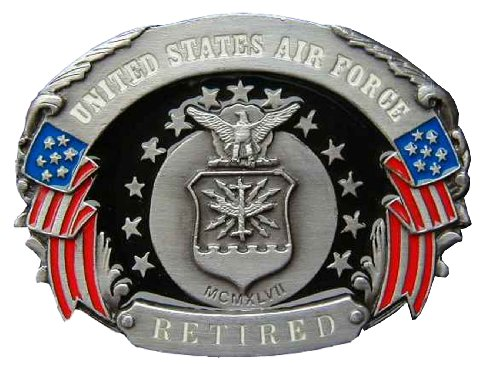 Air Force Belt Buckle (U.S. Air Force Retired Colored Novelty Belt Buckle)