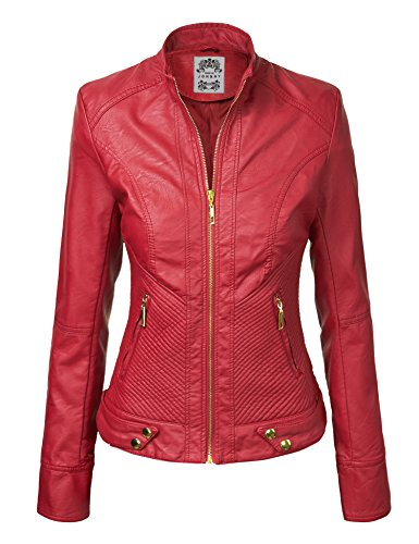 WJC747 Womens Dressy Vegan Leather Biker Jacket M RED