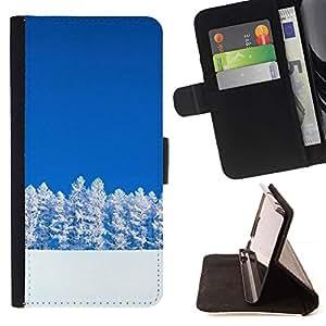 For Motorola Moto E ( 1st Generation ) Case , Naturaleza árboles Nevado- la tarjeta de Crédito Slots PU Funda de cuero Monedero caso cubierta de piel
