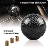 wolf shifter knob - RYANSTAR Universal Shift Knob Gear Shifter Knobs with 3 Adapters Shifter Level Stick Carbon Fiber Style Round Ball Black
