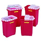 Sharps Collector Extra Large 9 Gallon Red 18.5 in. x 17.75 in. x 11.75 in/Red base/Natural top Non - Sterile