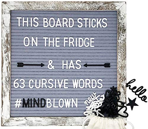 Changeable Letter Board First Ever Magnetic Frame Bonus 63 Cursive Words, 542 Black & White Characters, Baby Announcement Board - Fridge, Wall & Easel Display, and Online Message Preview ()