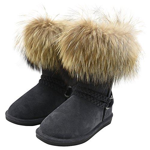 Oasap Mujer Botas de Nieve de Invierno con Borla de Lana Chic Grey