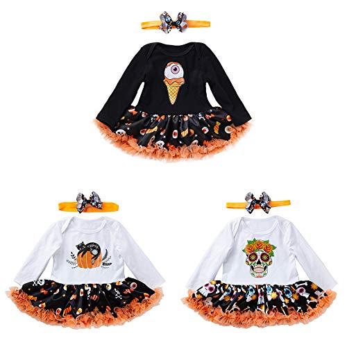 TZP Ice Cream Skull Pumpkin Lace Baby Girls Dress Bowknot Headband Halloween Outfit ()