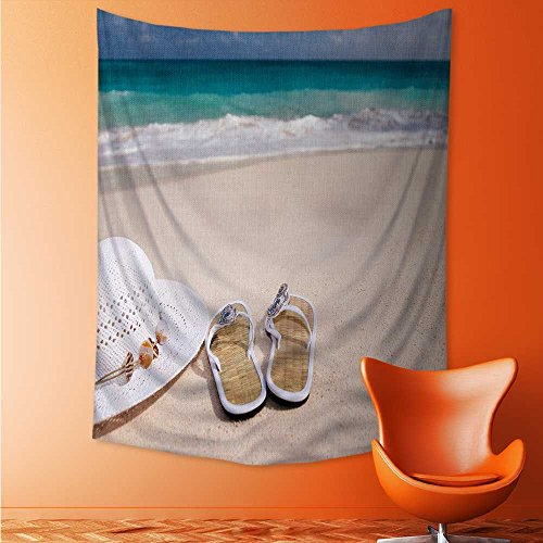 (AuraiseHome Shoes and Hats on The Beach Wall Hanging for Bedroom Living Room Dorm 60W x 91L Inch)