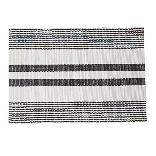 - C&F Home Classic Stripes, Black and White Striped Cotton Placemat, 13x19, Set of 4