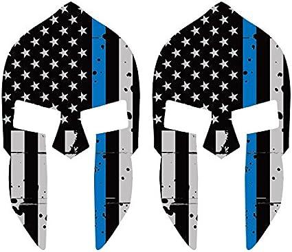 Paquete de dos calcomanías para casco espartano desgastado con línea azul fina, con bandera estadounidense FA Graphix Law Police: Amazon.es: Coche y moto