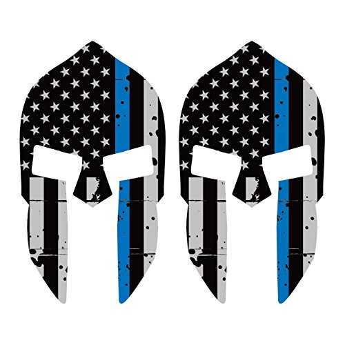 Two-Pack-Distressed-Thin-Blue-Line-Subdued-Spartan-Helmet-American-Flag-Sticker-FA-Graphix-Law-Police