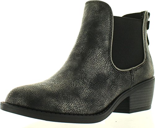 SODA Womens Chelsea Faux Leather Elastic Side Panel Ankle Boots Dress