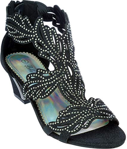 lime03 Womens Evening Sandal Rhinestone Black Dress-Shoes Size 9 from Shoes Picker
